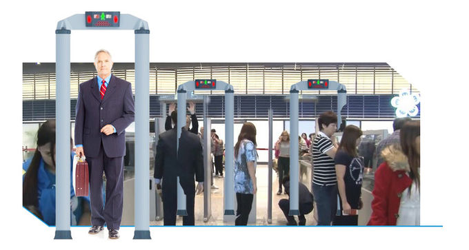 Cylindrical Column Walk Through Metal Detector Security Check , Point Human Body Scanner